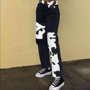 Patchwork Cow Print Jeans Women Y2K Casual Pants